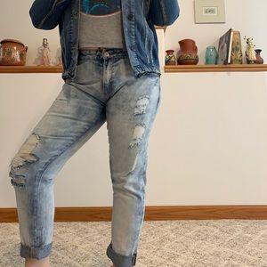 Zara Trafaluc Boyfriend Acid Wash Destroy Jeans 10